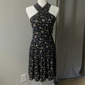 Floral crossed halter dress
